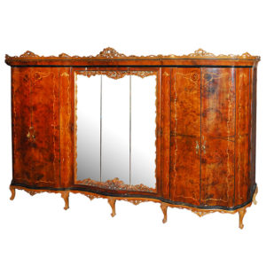 Large Italian Walnut Armoire with Marquetry Inlay