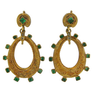 Art Nouveau Emerald and Diamond Dangle Earrings