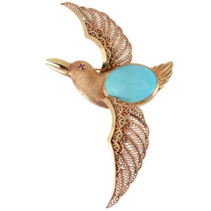 Flying Bird Brooch with Filigree Wings