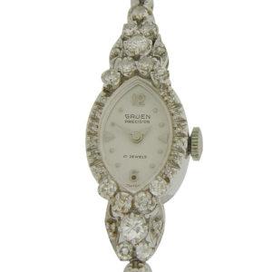 Ladies Dress Style Diamond Wrist Watch by Gruen
