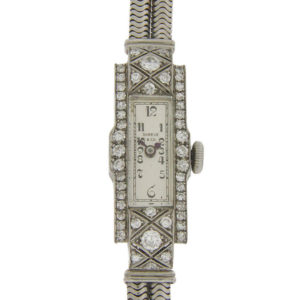 Ladies Platinum and Diamond Wrist Watch by Shreve & Co.