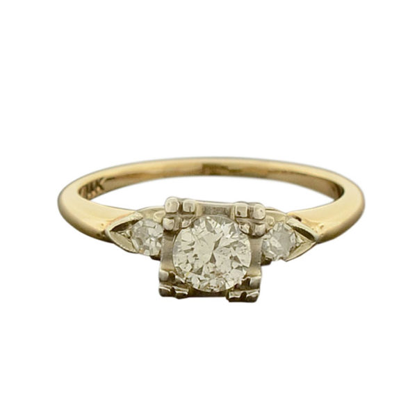 14 Karat White and Yellow Gold Diamond Ring