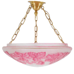 Three Light Dome Ceiling Fixture with Cameo Floral Cranberry Glass