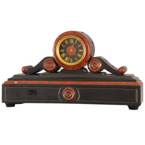 French Rouge Marble & Black Slate Mantel Clock By Tiffany & Co.