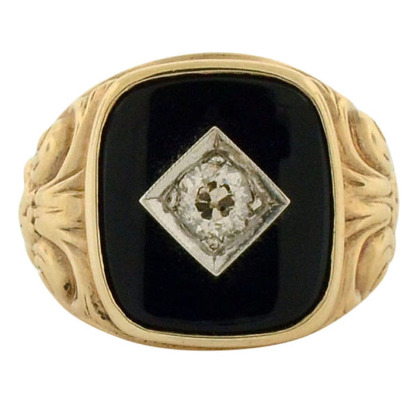Mens Diamond and Onyx Gold Ring