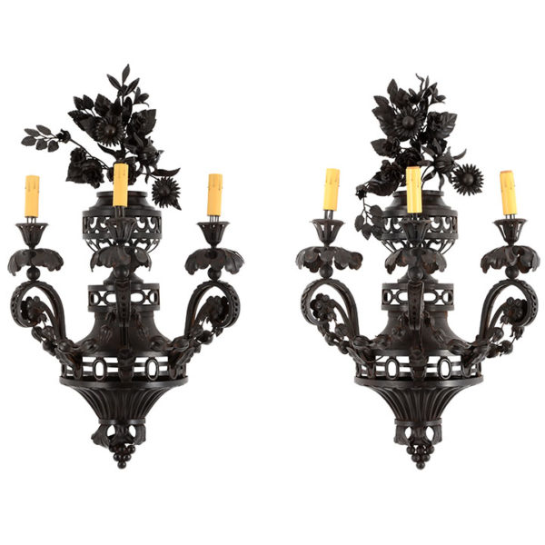 Pair of Wrought Iron Monumental Wall Sconces