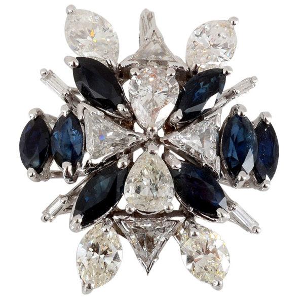 5.30 CTW Diamond Pendant with Marquise Sapphires