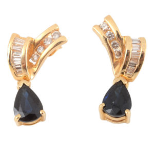 1.97 CTW Sapphire Earrings with Diamonds