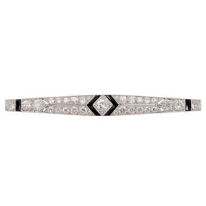 Platinum Art Deco 2.5 CTW Diamond and Onyx Bar Pin