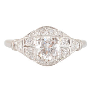 Platinum 0.50 Carat Center Diamond Ring