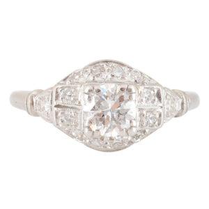 Platinum 0.50 Carat Center Diamond Ring