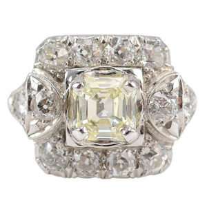 Platinum 2.13 CTW Diamond Art Deco Ring