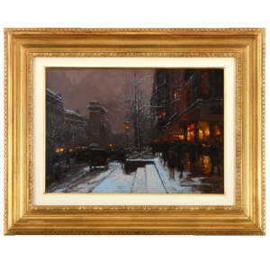 French oil on canvas Porte Saint-Denis Winter by Edouard Leon Cortes