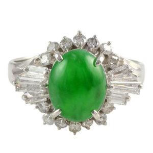 Platinum Art Deco 3.01 Carat Jade Ring with Diamonds