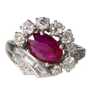 Platinum 2.10 Carat Ruby and Diamond Ring