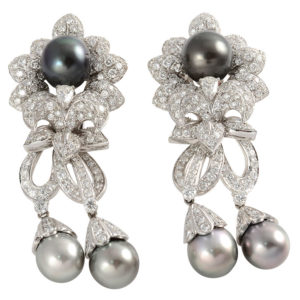 Italian 7.40 CTW Diamond and Tahitian Pearl Earrings