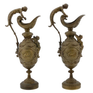 French Pair of Bronze Ewers