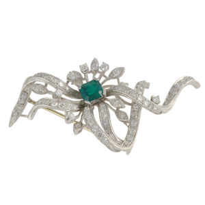 1.25 CTW Diamond Brooch with Synthetic Emerald