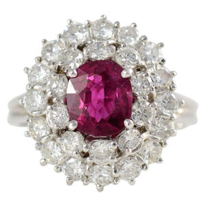 1.52 Carat Ruby Ring with Diamonds