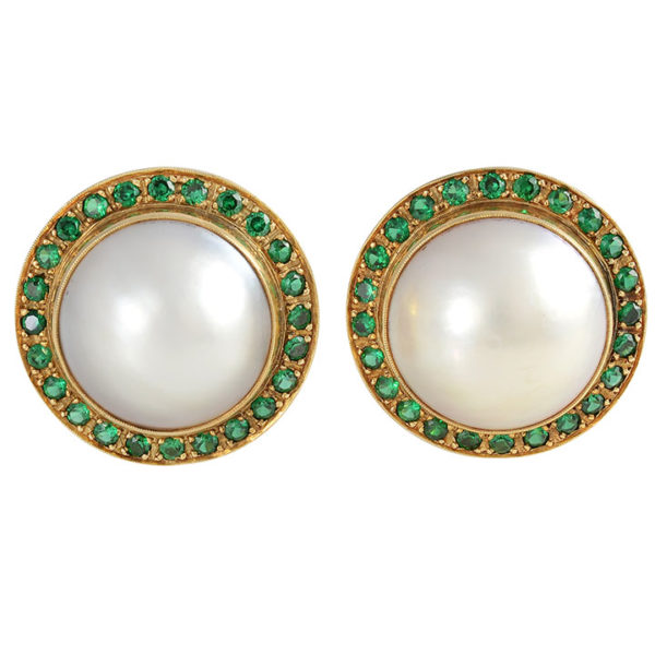 20mm Mabe Pearl Clip Earrings with Tsavorite Garnets