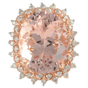 14K Rose Gold 21.26 Carat Morganite Ring with Diamonds