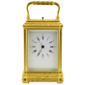 French Carriage Clock in Gilt Gorge Case with Polychrome Enameled Panels
