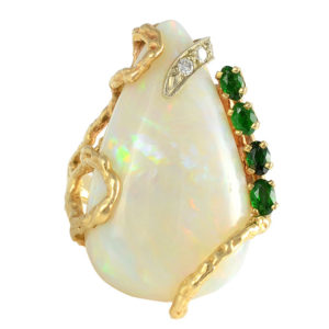 Australian Opal Ring with Emeralds and Diamonds