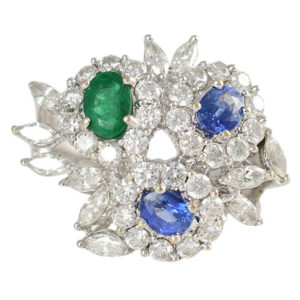 1.37 CTW Diamond Ring with Sapphires and Emerald