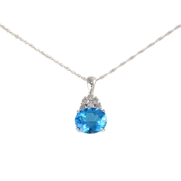 4.82 Carat Blue Topaz Pendant with Diamonds