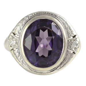 4.50 Carat Synthetic Sapphire Ring with Accent Diamonds