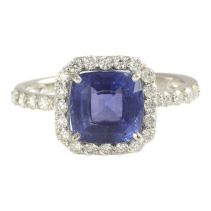 3.06 Carat GIA Certified Untreated Sapphire and Diamond Ring