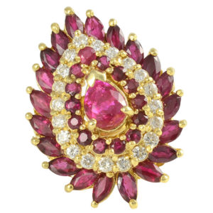 GIA Certified Natural Burmese Ruby Ring with Diamonds