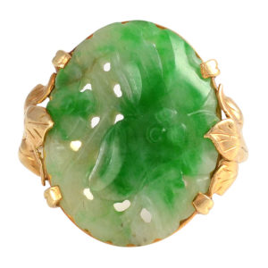 Yellow Gold Carved Jade Ring