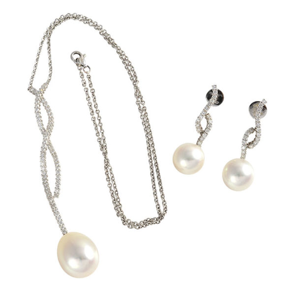 South Seas Pearl Pendant and Earrings with Diamonds