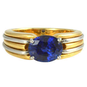 Yellow Gold and Platinum Sapphire Ring