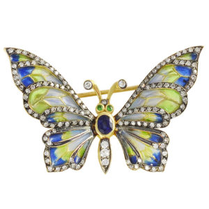 Plique A Jour Butterfly Pin with Diamonds
