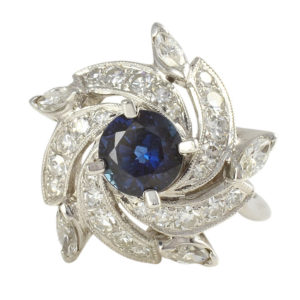 0.65 Carat Sapphire and Diamond Ring
