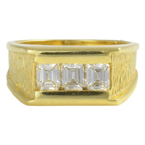 18K Yellow Gold Mens Asscher Cut Diamond Ring