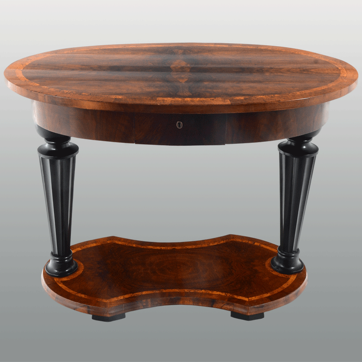 European Biedermeier Oval Side Table Attributed To Josef Ulrich Danhauser