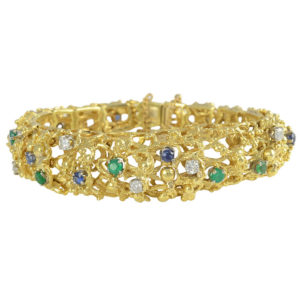 Nugget Link Bracelet with Diamonds, Sapphires and Emeralds