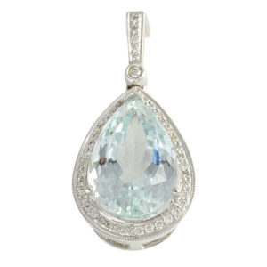 14K White Gold Aquamarine Pendant Enhancer