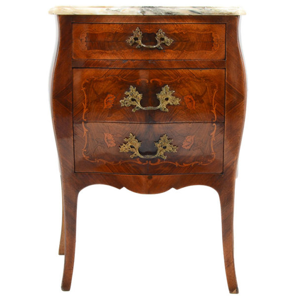 French Demilune Commode in Inlaid Burl Walnut