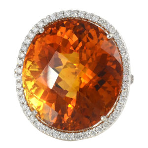 18K White Gold 41.22 Carat Citrine Ring with Diamonds