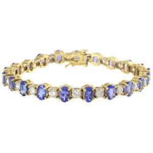 6.51 Carat Tanzanite Bracelet with Diamonds