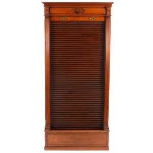 American Mahogany File Cabinet with Roll Up Door