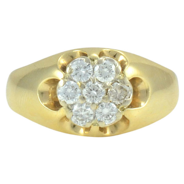 0.85 CTW Diamond Cluster Yellow Gold Ring