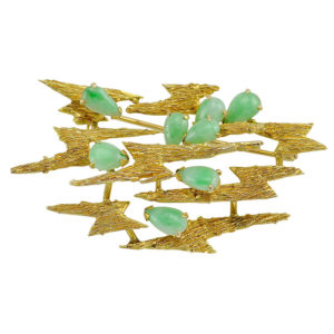 Jade Yellow Gold Free Form Brooch