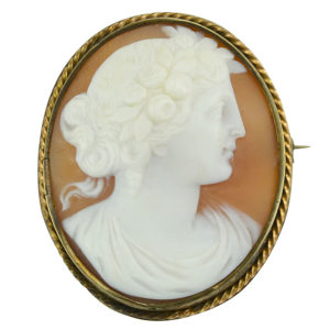 Yellow Gold Shell Cameo Brooch