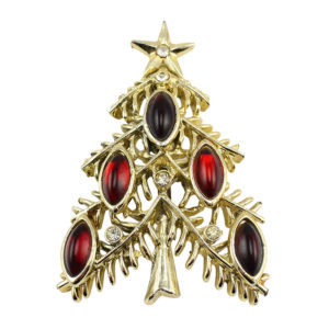 Christmas Tree Pin With Red Glass and Rhinestones by Tancer