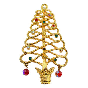 Christmas Tree Pin With Rhinestones and Red Crystals by Tancer